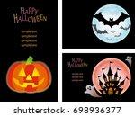 a set of three happy halloween...   Shutterstock .eps vector #698936377