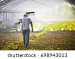 the peasants carried the hoe... | Shutterstock . vector #698943013
