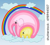 elephant with an elephant on... | Shutterstock .eps vector #698944507