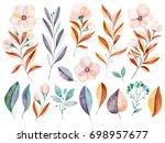 handpainted watercolor flowers... | Shutterstock . vector #698957677