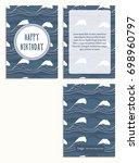 sea postcard with dark blue big ...   Shutterstock .eps vector #698960797