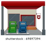 gas   fuel station with two... | Shutterstock .eps vector #69897394