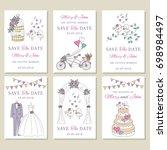 vector set of wedding save the... | Shutterstock .eps vector #698984497