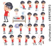 set of various poses of red... | Shutterstock .eps vector #698993893