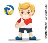 funny little boy playing volley ... | Shutterstock .eps vector #699005833