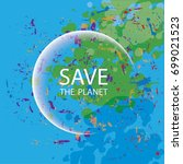 a poster on the theme of saving ... | Shutterstock .eps vector #699021523