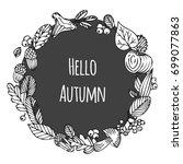 hello autumn. acorn  fall... | Shutterstock .eps vector #699077863