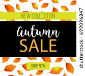 autumn sale flyer template with ... | Shutterstock .eps vector #699096847