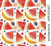 watercolor exotic fruits and... | Shutterstock . vector #699105307