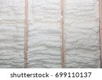 the wall of a new wooden house... | Shutterstock . vector #699110137