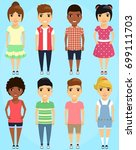 a set of children in different... | Shutterstock .eps vector #699111703