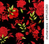 Seamless Red Floral Background...