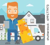 a delivery man standing near... | Shutterstock .eps vector #699177973