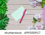 blank white note  pen and... | Shutterstock . vector #699200917