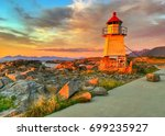 small lighthouse in laukvik at...   Shutterstock . vector #699235927