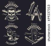 set of vintage barbershop... | Shutterstock .eps vector #699237313