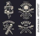 set of vintage barbershop... | Shutterstock .eps vector #699237337