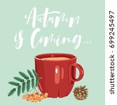 autumn calligraphy card with...   Shutterstock .eps vector #699245497