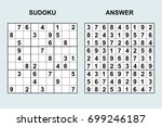 vector sudoku with answer 100.... | Shutterstock .eps vector #699246187