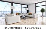 modern bright interiors. 3d...   Shutterstock . vector #699247813