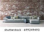 modern bright interiors. 3d...   Shutterstock . vector #699249493