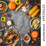 thanksgiving dinner background... | Shutterstock . vector #699250123