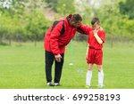 kids soccer football   coach... | Shutterstock . vector #699258193
