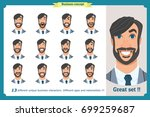 face expressions of a man with...   Shutterstock .eps vector #699259687