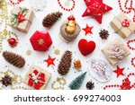 christmas background with... | Shutterstock . vector #699274003