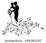 a bride and groom wedding... | Shutterstock .eps vector #699281197
