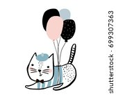 cute cat illustration with... | Shutterstock .eps vector #699307363