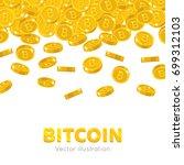 falling gold bitcoins cartoon... | Shutterstock .eps vector #699312103