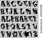 hand drawn grunge alphabet | Shutterstock . vector #69932308