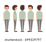 front  side  back view animated ... | Shutterstock .eps vector #699329797