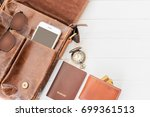 top view of leather bag and... | Shutterstock . vector #699361513