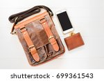 top view of leather bag and... | Shutterstock . vector #699361543