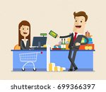 businessman  shopping in a... | Shutterstock .eps vector #699366397