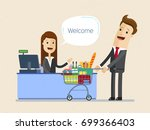 businessman  shopping in a... | Shutterstock .eps vector #699366403