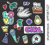 set of colorful cartoon badges. ... | Shutterstock .eps vector #699387127