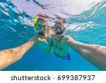 young couple enjoying... | Shutterstock . vector #699387937