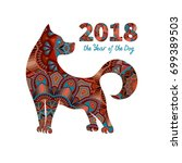 dog is a symbol of the 2018... | Shutterstock . vector #699389503