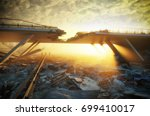 ruins of a city. apocalyptic... | Shutterstock . vector #699410017