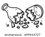cracked glass bottle   cartoon... | Shutterstock .eps vector #699414727
