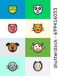 flat animal faces | Shutterstock .eps vector #699416053