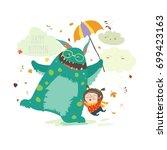 happy girl with her monster | Shutterstock .eps vector #699423163