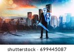 businessman turned into thunder ... | Shutterstock . vector #699445087