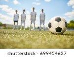 closeup of football ball on... | Shutterstock . vector #699454627