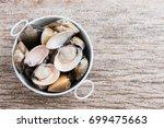 fresh enamel venus shell ... | Shutterstock . vector #699475663