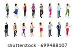 isometric set of women and men... | Shutterstock .eps vector #699488107