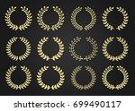 twelve gold award wreaths...   Shutterstock .eps vector #699490117